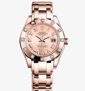 Replica Rolex Lady-Datejust Pearlmaster Watch: 18 ct Everose gold – M80315-0012