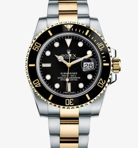 Replica Rolex Submariner Date Watch: Yellow Rolesor - combination of 904L steel and 18 ct yellow gold – M116613LN-0001