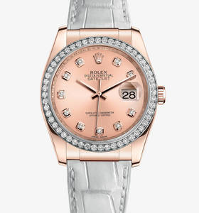 Replica Rolex Datejust 36 mm Watch : 18 ct everose gull - M116185 - 0008