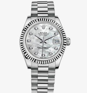 Replica Rolex Datejust Lady 31 Watch: 18 karaat witgoud - M178279 - 0015