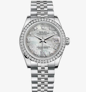 Replica Rolex Datejust Lady 31 Watch: White Rolesor - combination of 904L steel and 18 ct white gold – M178384-0040