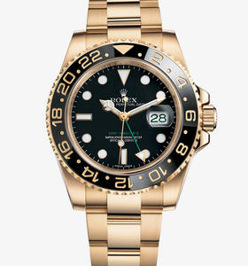 Replica Rolex GMT-Master II Watch: 18 ct yellow gold – M116718LN-0001