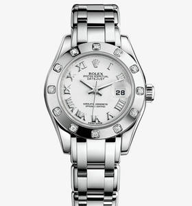 Replica Rolex Lady-Datejust Pearlmaster Watch: 18 ct white gold – M80319-0040