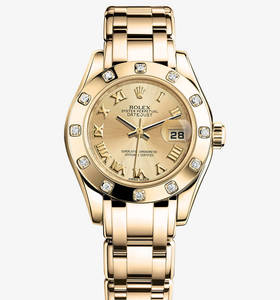 Replica Rolex Lady-Datejust Pearlmaster Watch: 18 ct yellow gold – M80318-0060