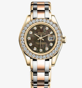 Replica Rolex Lady- Datejust Pearlmaster Watch : 18 karat guld -
