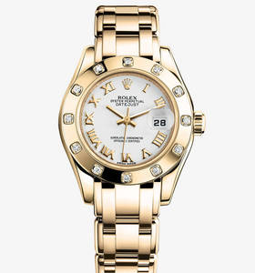 Replica Rolex Lady-Datejust Pearlmaster Watch: 18 ct yellow gold – M80318-0054