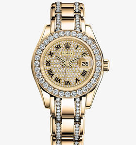 Replica Rolex Lady-Datejust Pearlmaster Watch: 18 ct yellow gold – M80298-0146