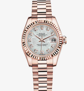 Replica Rolex Lady-Datejust Watch: 18 ct Everose gold – M179175F-0002