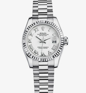 Replica Rolex Lady- Datejust Watch : 18 karat hvidguld - M179179