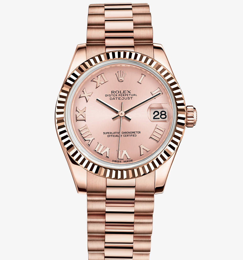 Replica Rolex Datejust Lady 31 Klocka : 18 ct Everose guld - M178275F - 0029