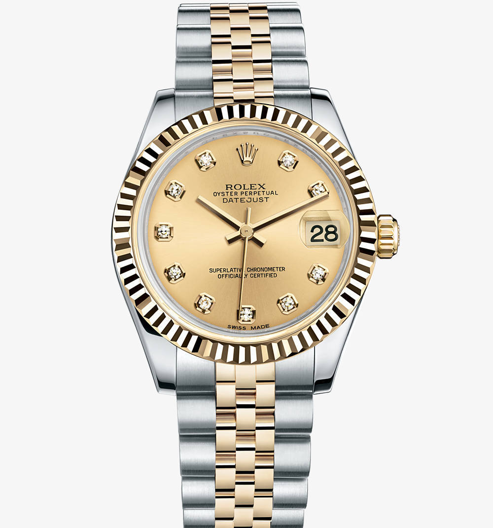 Replica Rolex Datejust Lady 31 Watch: Yellow Rolesor - combination of 904L steel and 18 ct yellow gold – M178273-0002