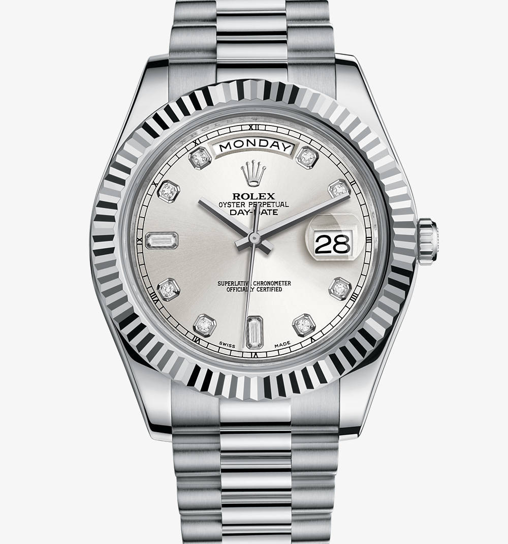 Replica Rolex Day -Date II Watch : 18 ct valkokultaa - M218239 -