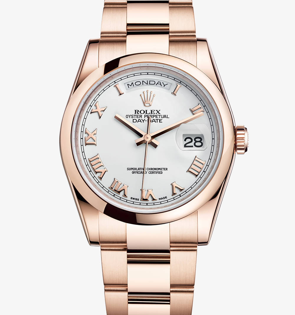 Replica Rolex Day-Date Watch: 18 ct Everose gold – M118205F-0053