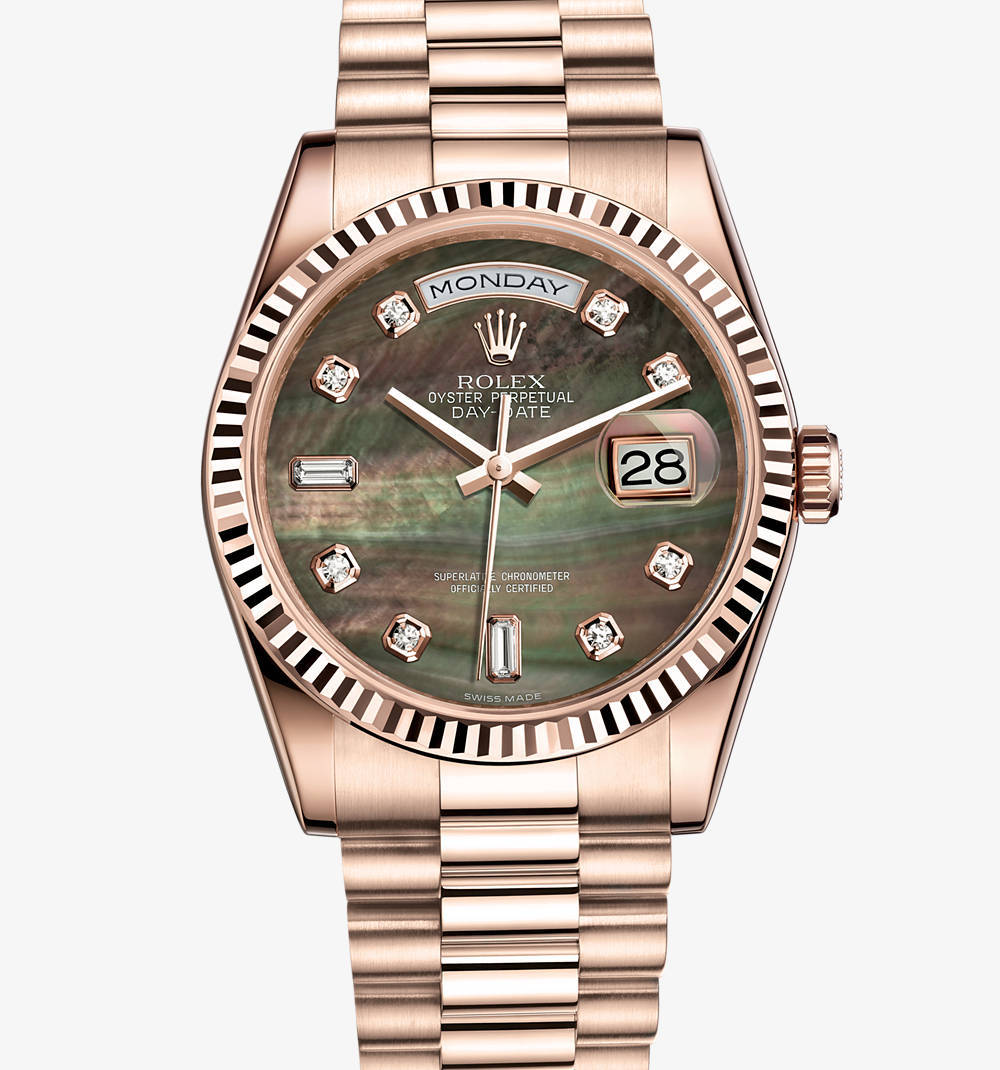 Replica Rolex Day-Date Watch: 18 ct Everose gold – M118235F-0007