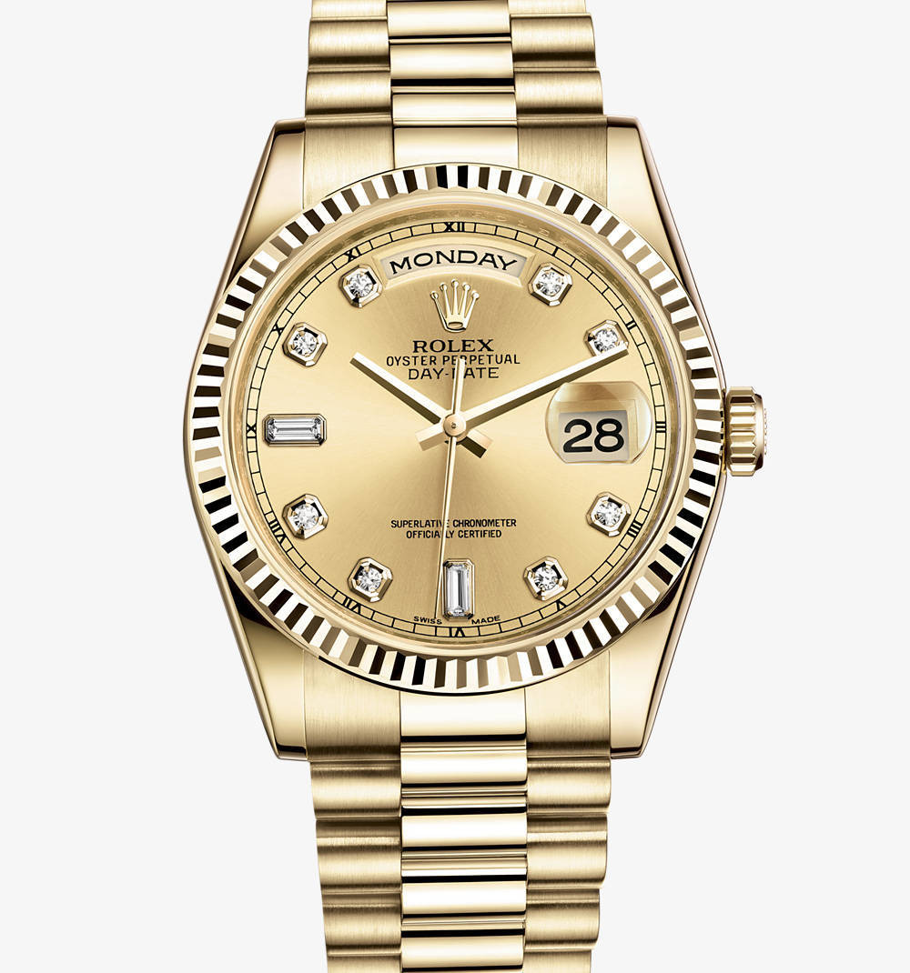 Replica Rolex Day-Date Watch: 18 ct yellow gold – M118238-0116