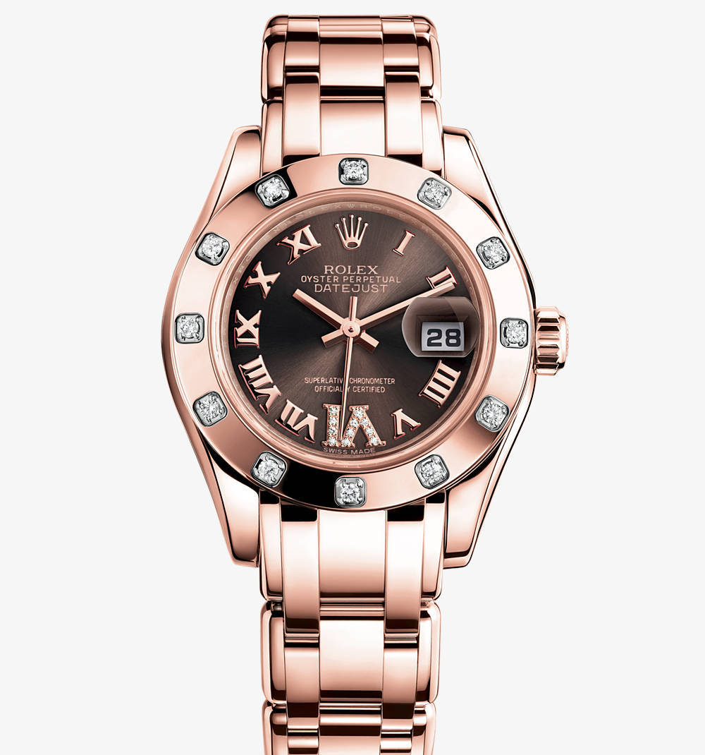 Реплика Rolex Lady-Datejust Pearlmaster Watch: 18-каратное золото Everose - M80315 -0013