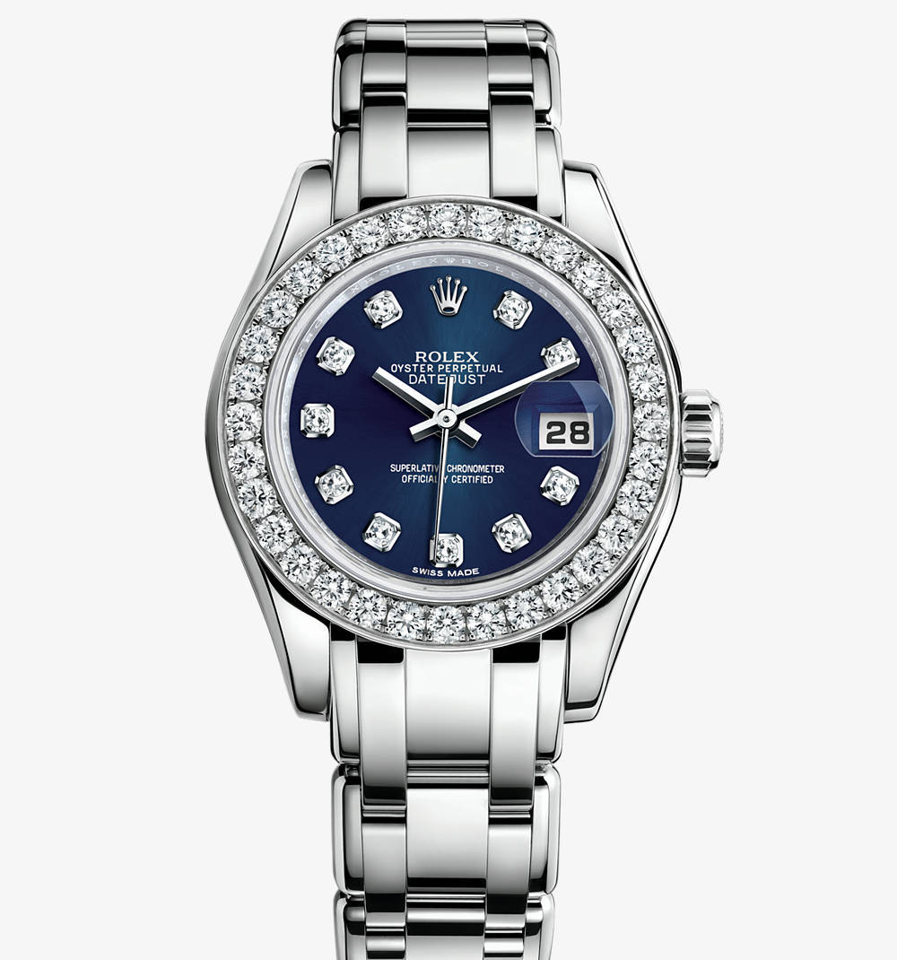 Replica Rolex Lady-Datejust Pearlmaster Watch: 18 ct white gold – M80299-0029