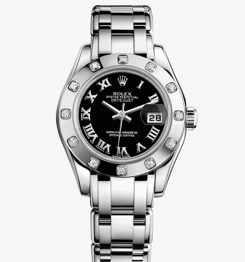 Replica Rolex Lady-Datejust Pearlmaster Watch: 18 ct white gold – M80319-0108