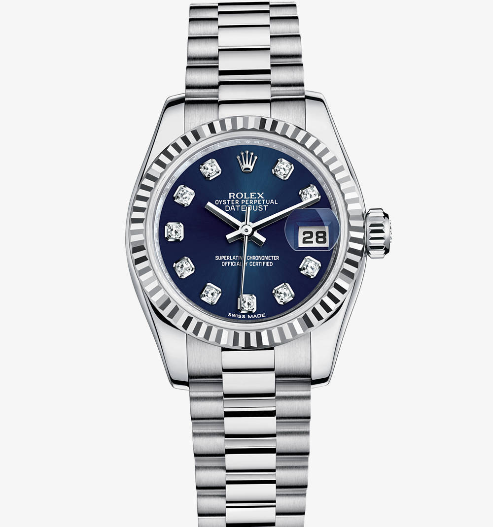 Rolex Lady-Datejust Watch: or blanc 18 ct - M179179 -0021