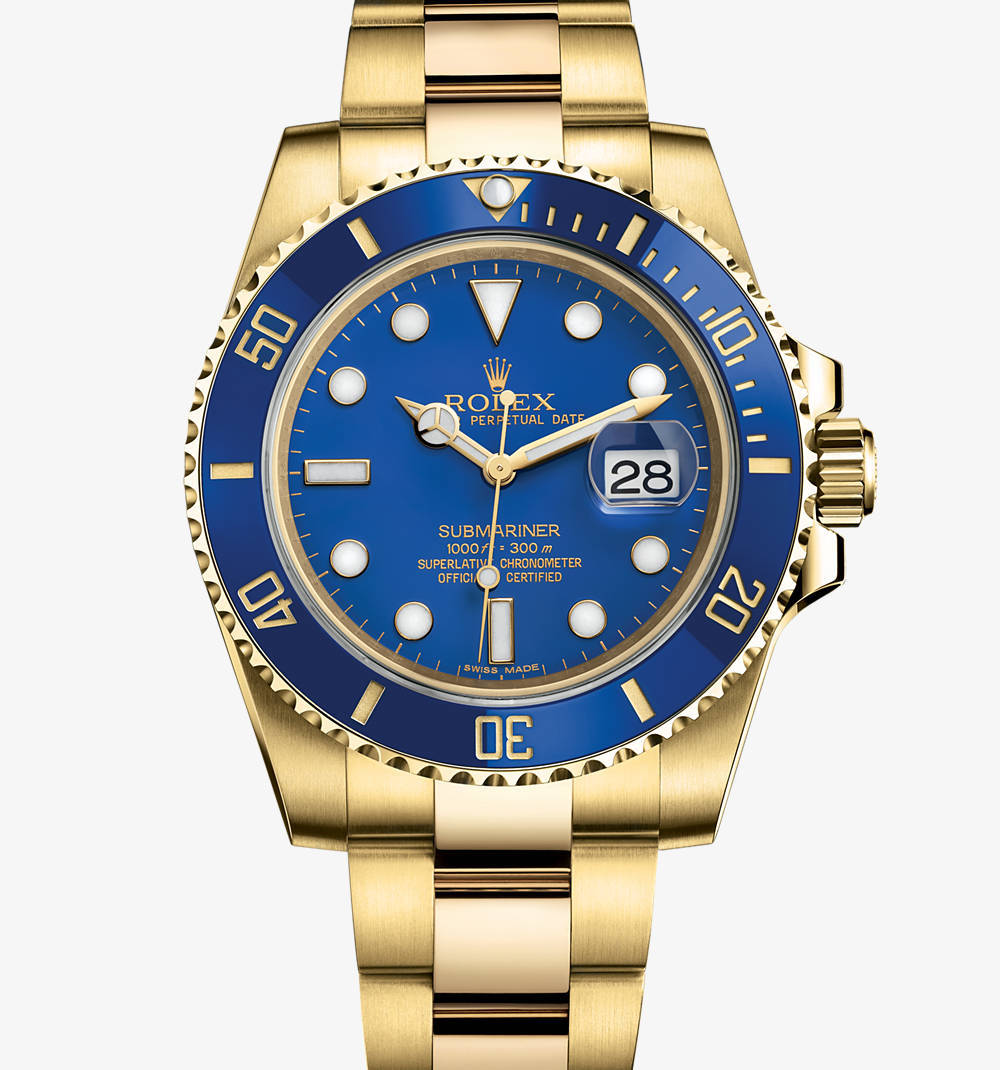 Replica Rolex Submariner Date Watch : 18 ct gult guld - M116618LB - 0001