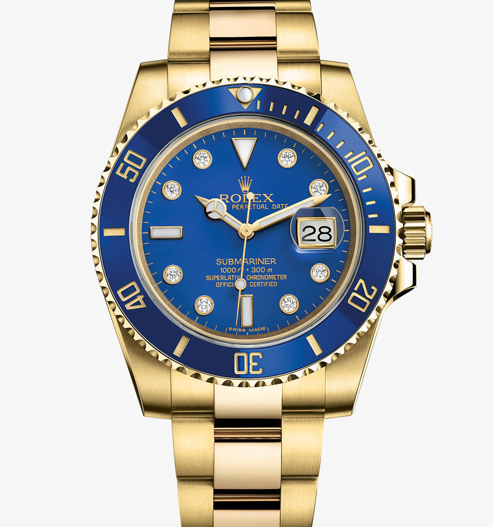 Replica Rolex Submariner Date Watch: 18 ct yellow gold – M116618LB-0002