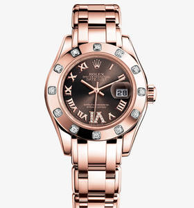 Replica Rolex Lady - Datejust Pearlmaster Watch : 18 ct Everose guld - M80315 - 0013