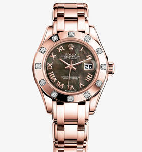 Replica Rolex Lady - Datejust Pearlmaster Watch : 18 ct Everose guld - M80315 - 0023